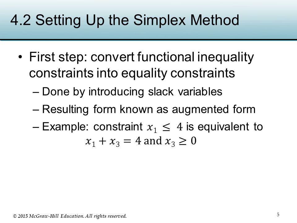 4.2 Setting Up the Simplex Method