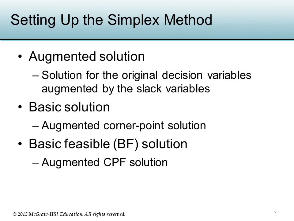 Setting Up the Simplex Method