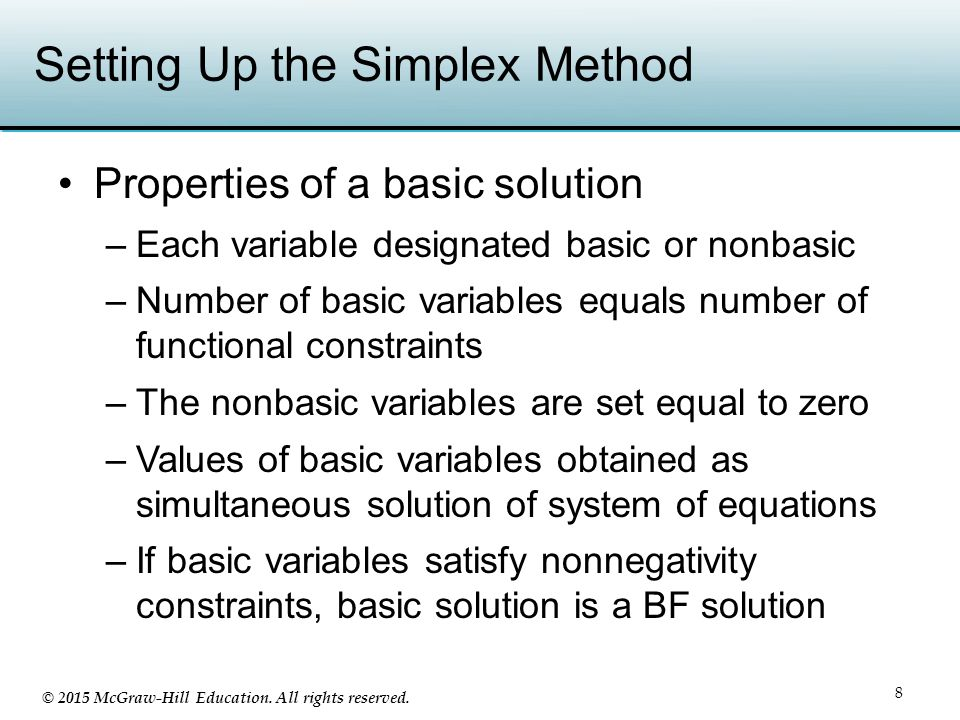 Setting Up the Simplex Method