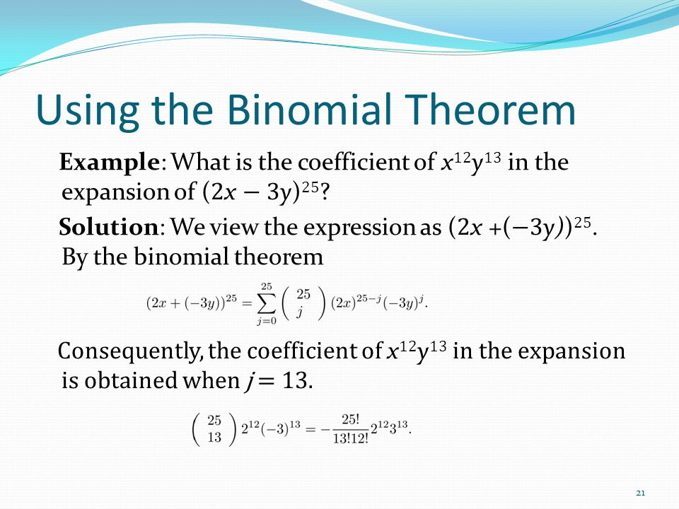 Using the Binomial Theorem