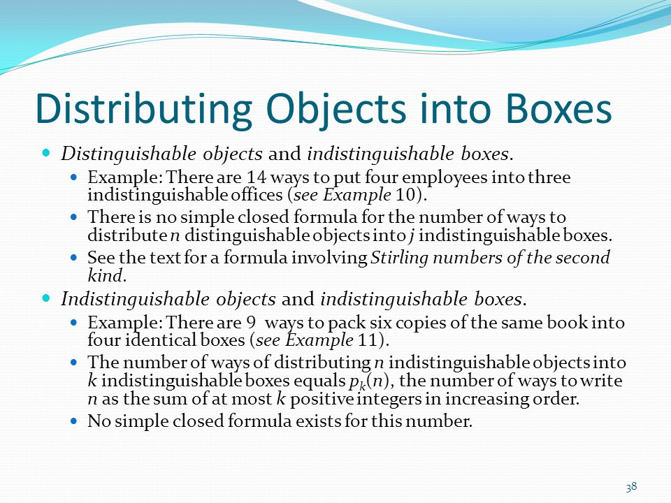 Distributing Objects into Boxes