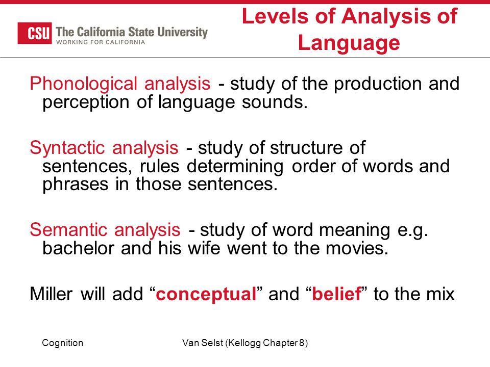 Levels of Analysis of Language