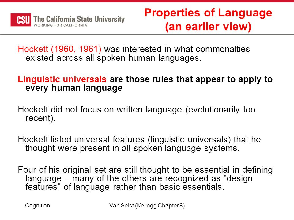Properties of Language (an earlier view)