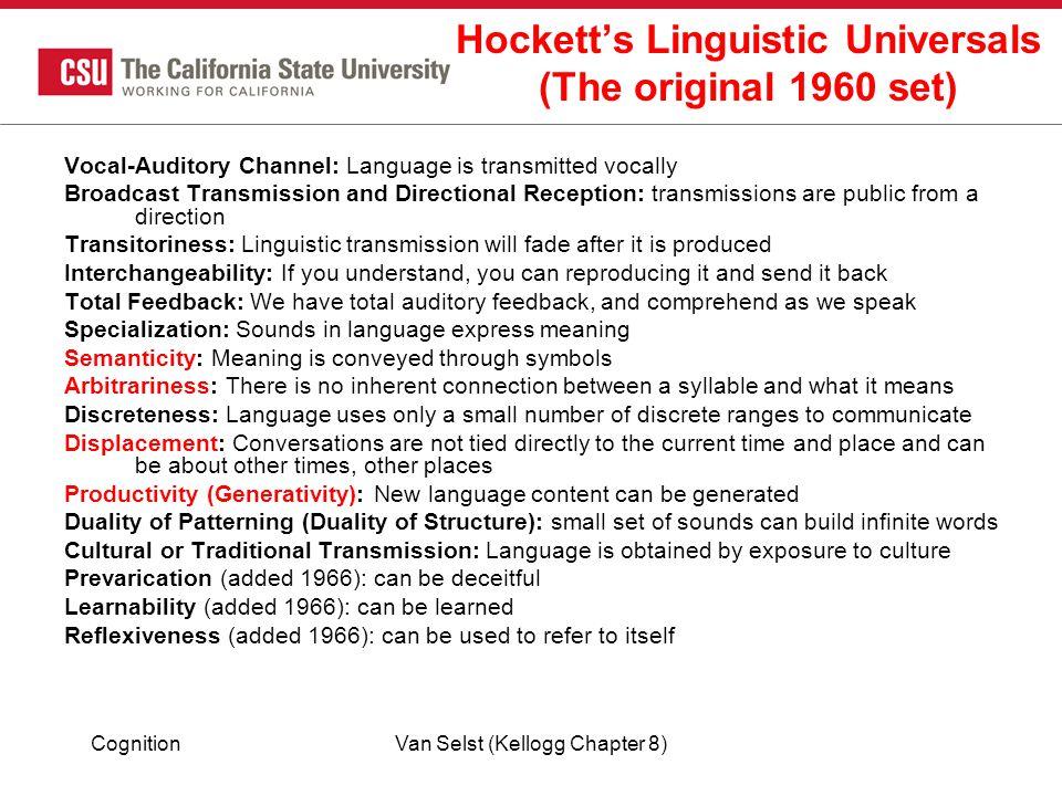 Hockett's Linguistic Universals (The original 1960 set)