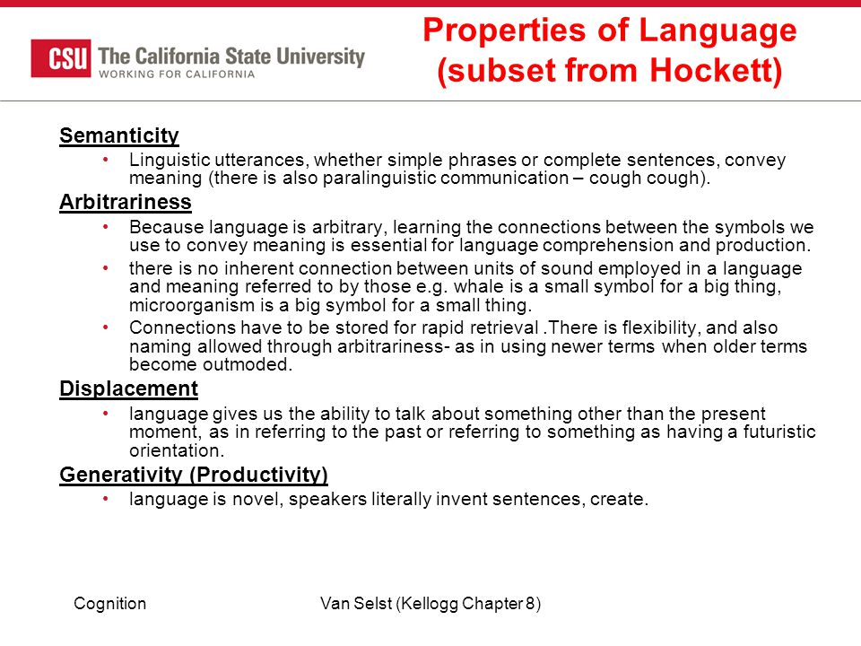 Properties of Language (subset from Hockett)