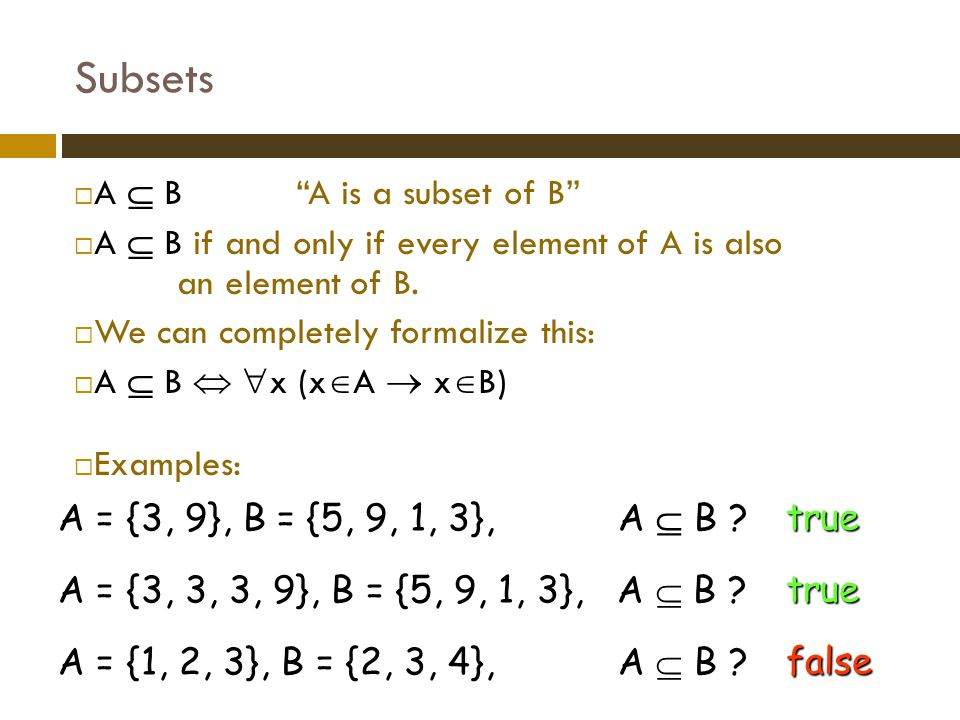 Subsets A  B A is a subset of B