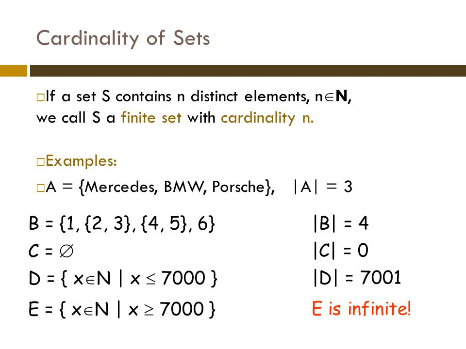 Cardinality of Sets If a set S contains n distinct elements, nN, we call S a finite set with cardinality n.