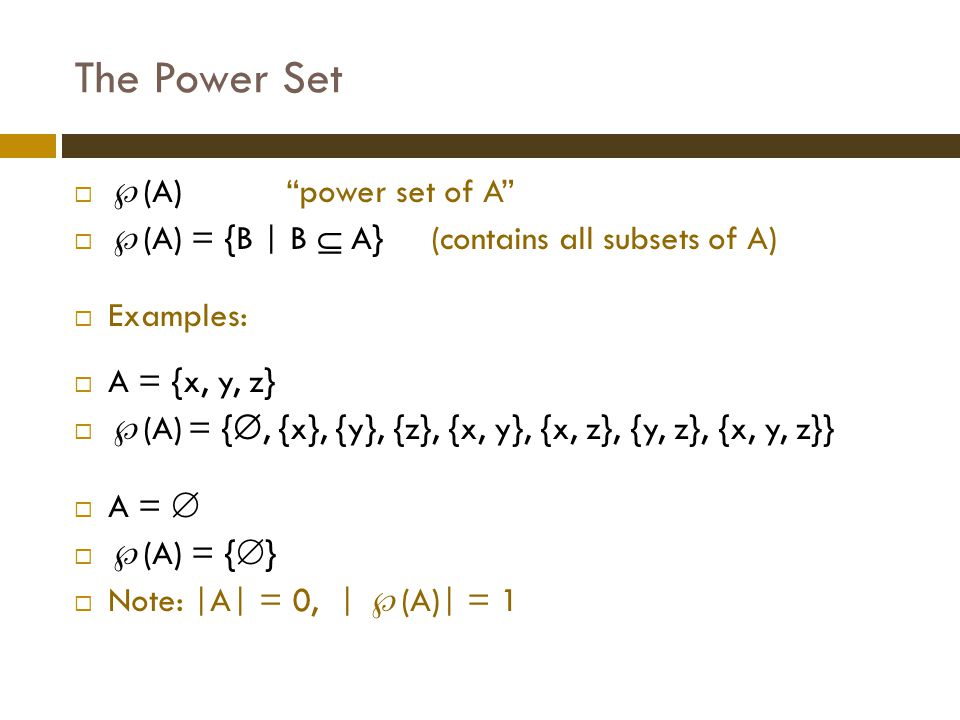 The Power Set (A) power set of A