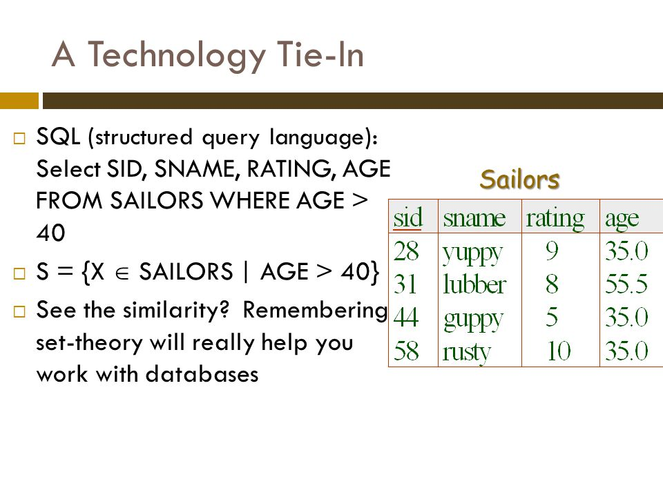 A Technology Tie-In SQL (structured query language): Select SID, SNAME, RATING, AGE FROM SAILORS WHERE AGE > 40.