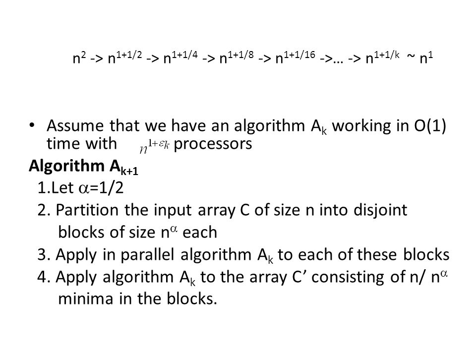 2. Partition the input array C of size n into disjoint
