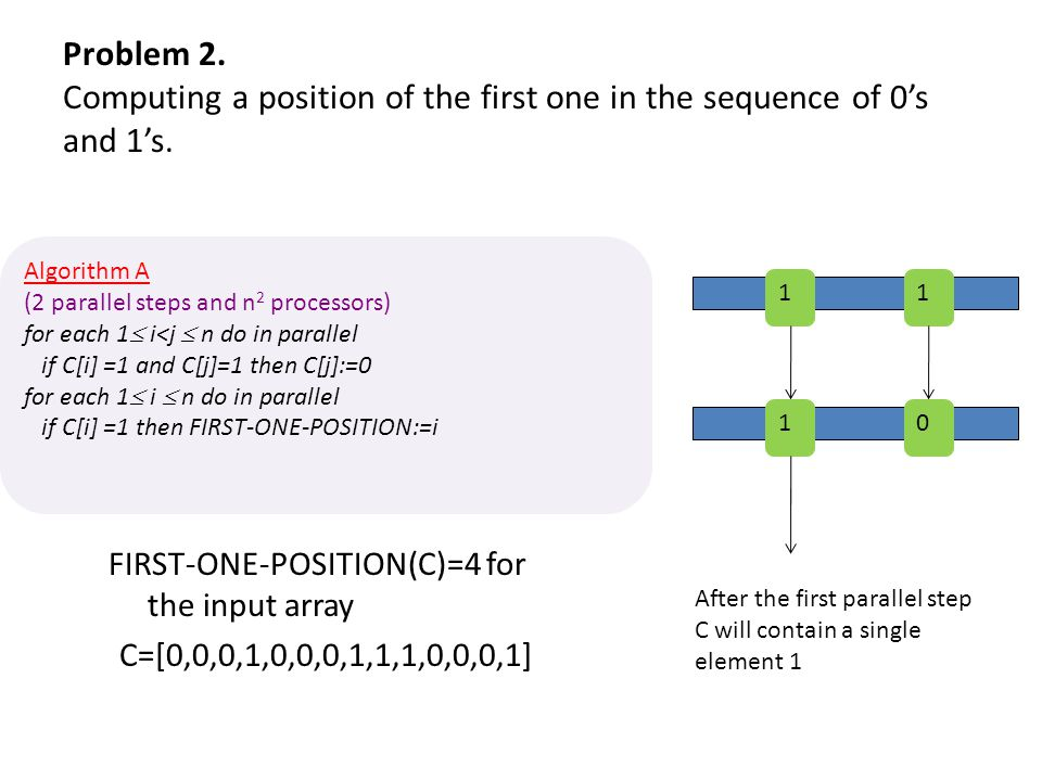 Problem 2. Computing a position of the first one in the sequence of 0's and 1's.
