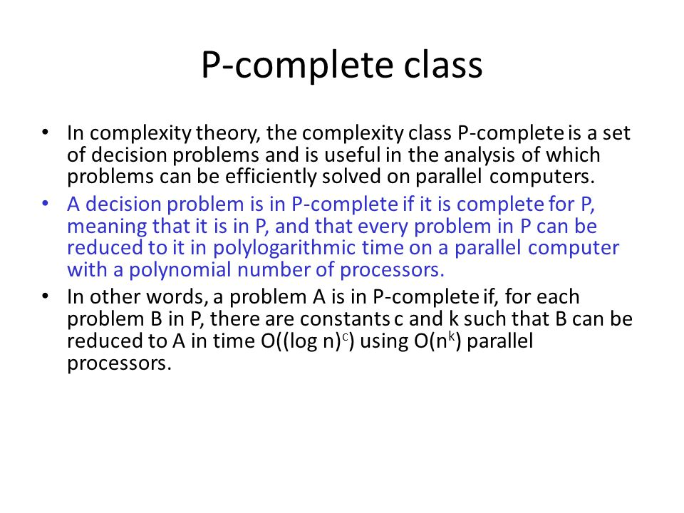 P-complete class