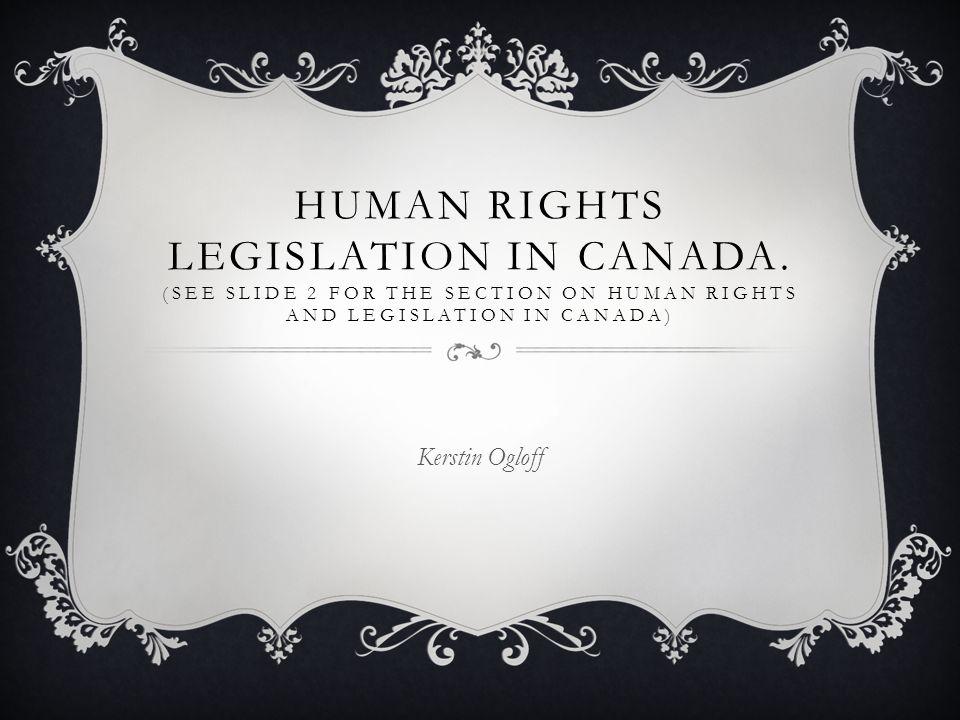 Human Rights Legislation In Canada