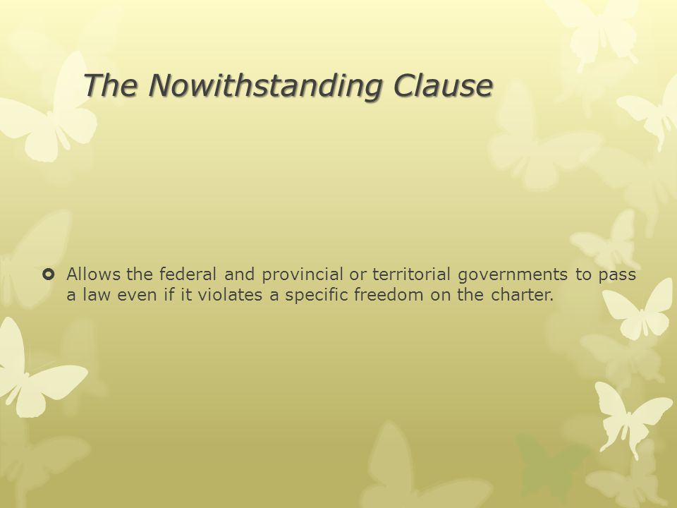 The Nowithstanding Clause