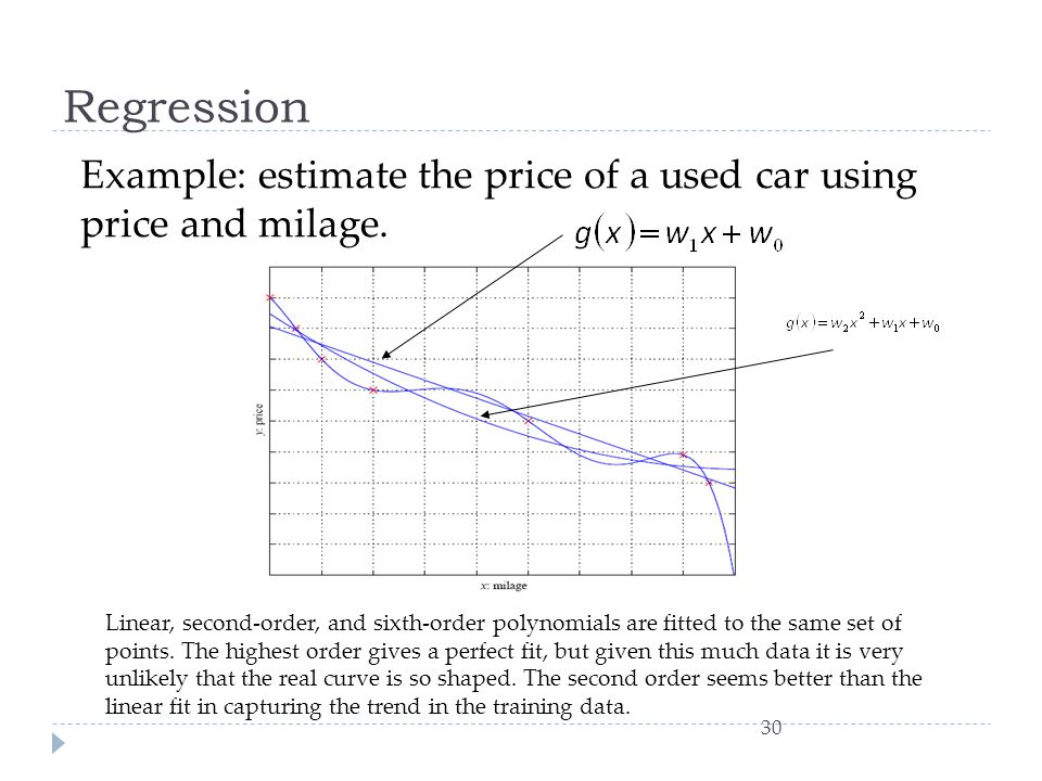 Regression Example: estimate the price of a used car using price and milage.