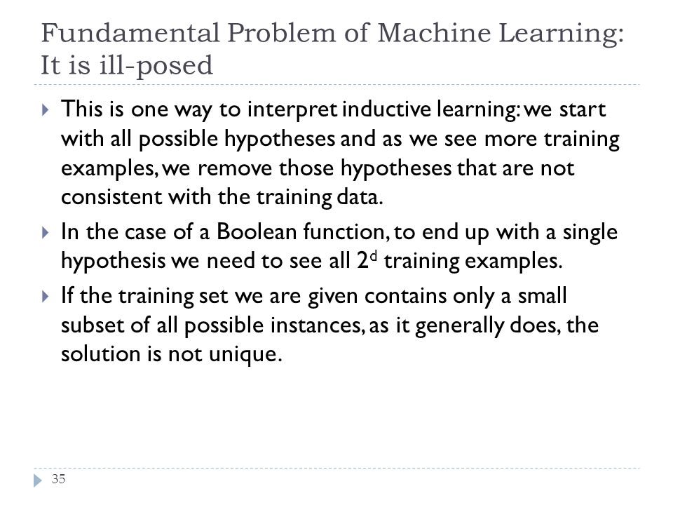 Fundamental Problem of Machine Learning: It is ill-posed
