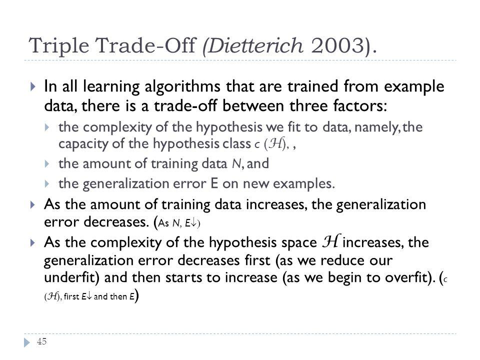 Triple Trade-Off (Dietterich 2003).