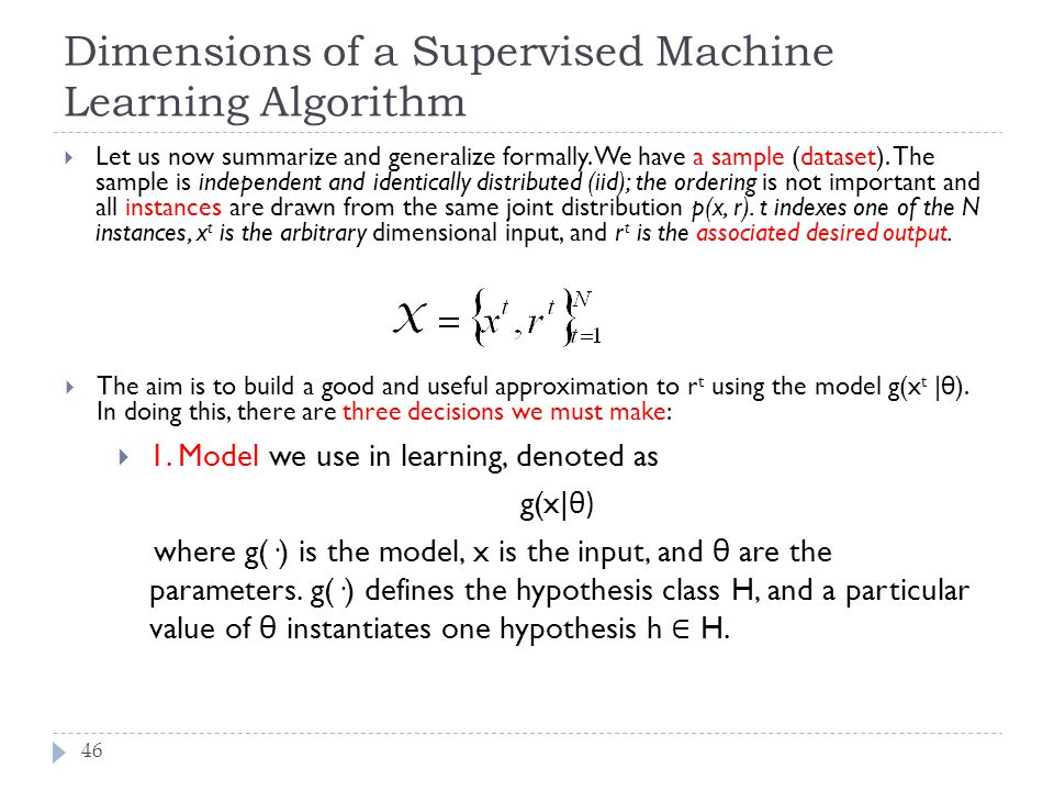 Dimensions of a Supervised Machine Learning Algorithm