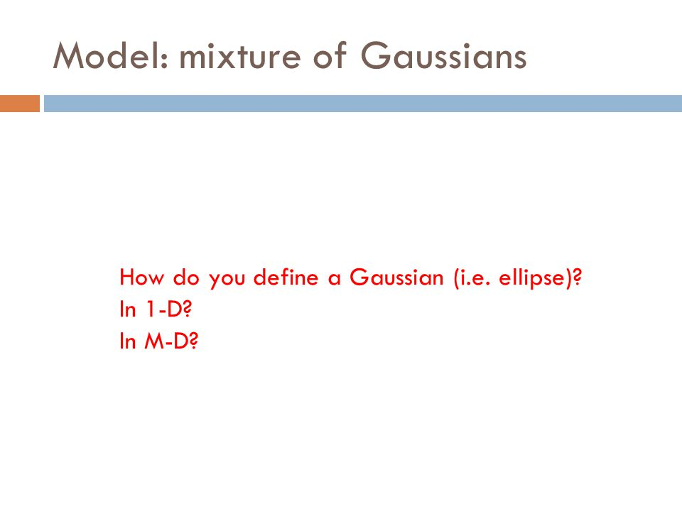 Model: mixture of Gaussians