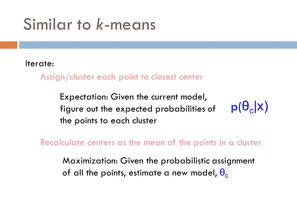 Similar to k-means p(θc|x) Iterate: