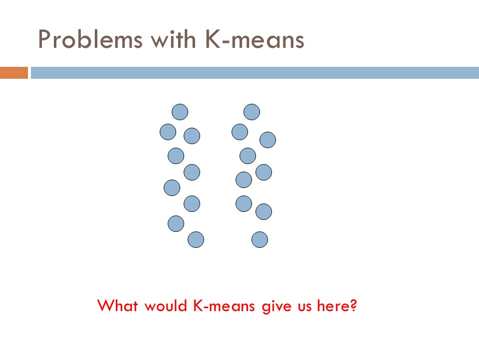 Problems with K-means What would K-means give us here