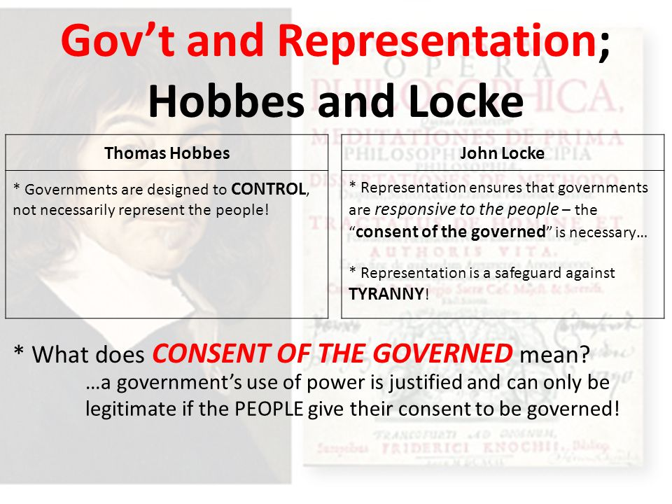 Gov't and Representation; Hobbes and Locke