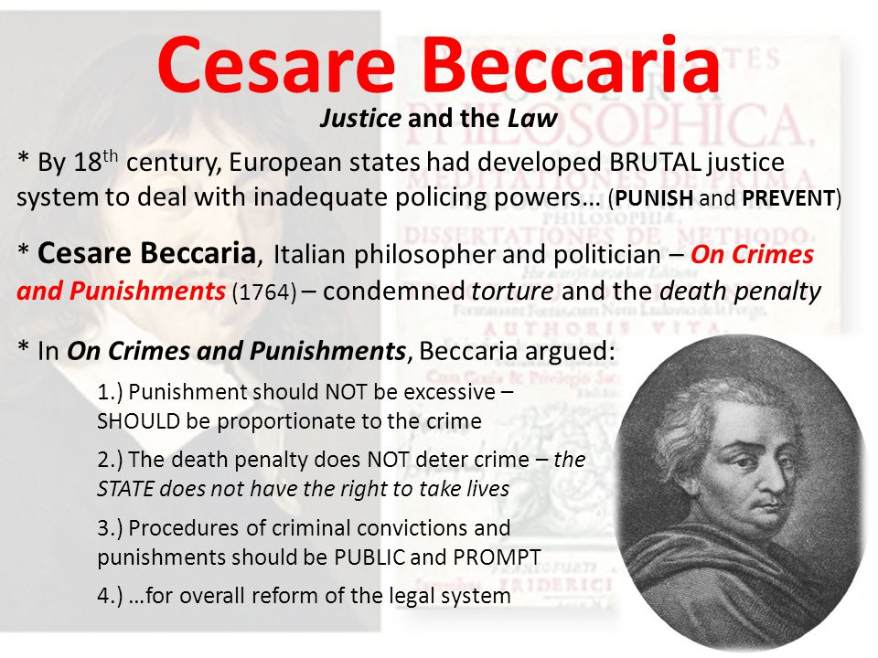 Cesare Beccaria Justice and the Law
