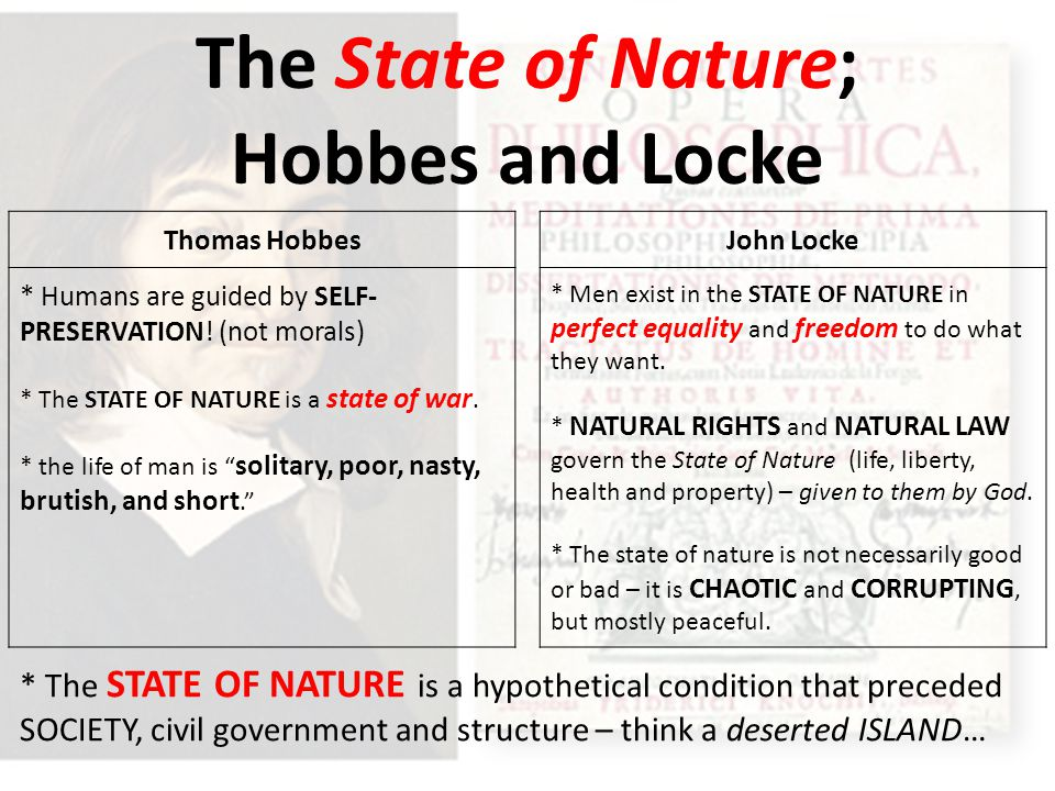 "hobbes vs locke state of nature essay Other reading: see an essay on ""the origin of the state of nature argument""   the major social contract theorists: hobbes, locke, and rousseau  this is  traditionally (since the 1970's at least) compared to robert."
