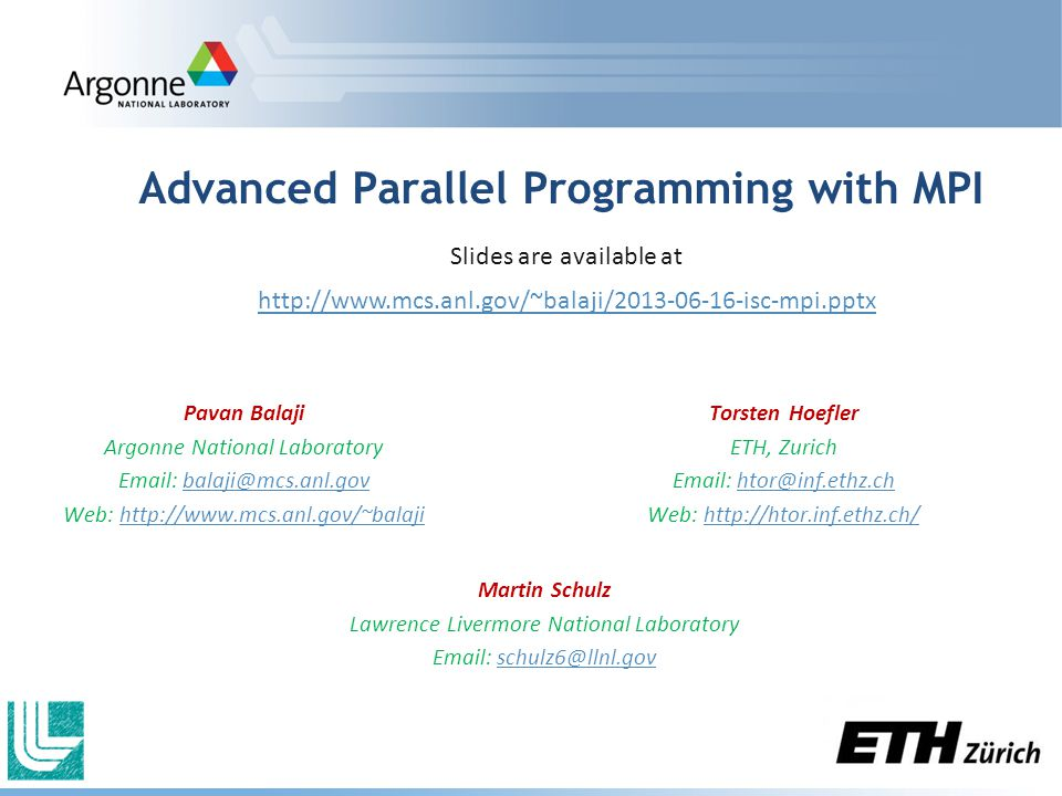 Advanced Parallel Programming with MPI