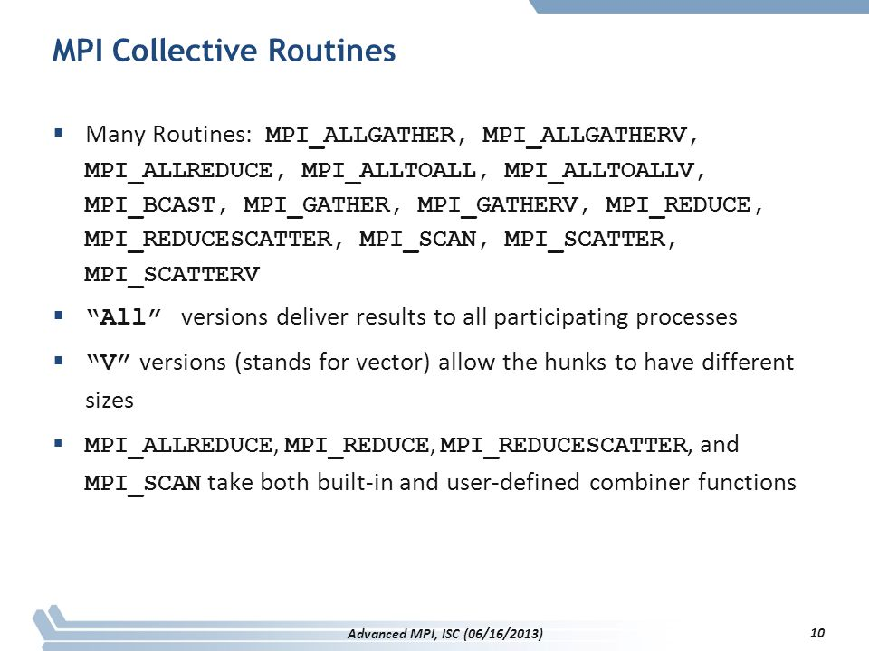 MPI Collective Routines
