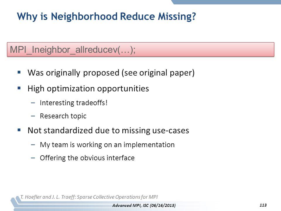 Why is Neighborhood Reduce Missing