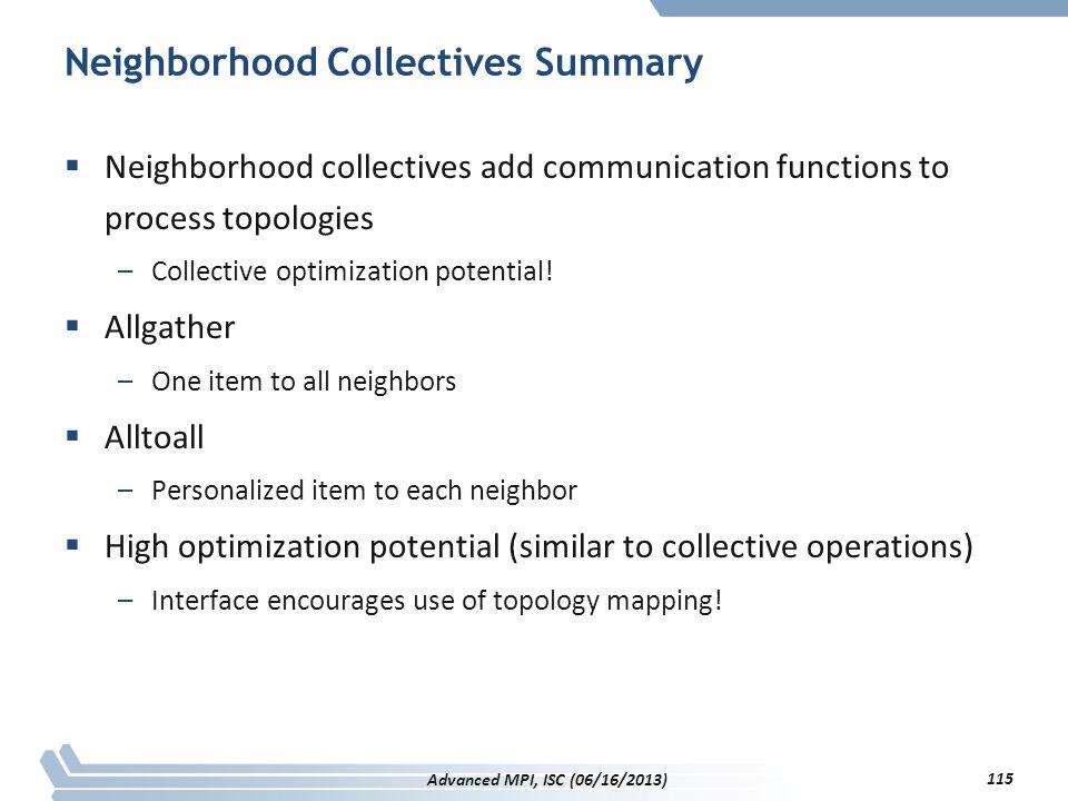 Neighborhood Collectives Summary