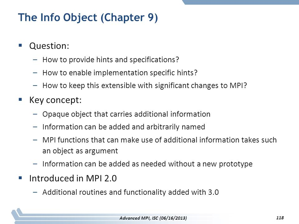 The Info Object (Chapter 9)