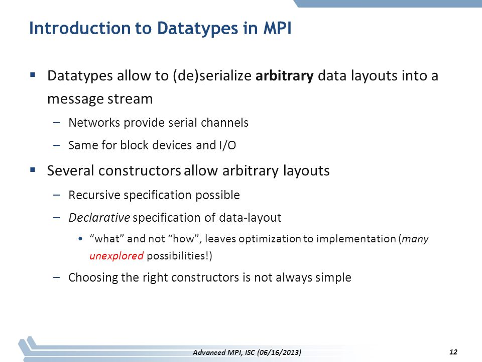 Introduction to Datatypes in MPI