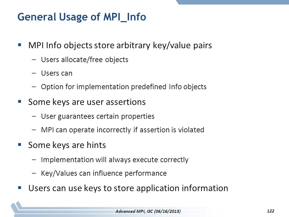 General Usage of MPI_Info