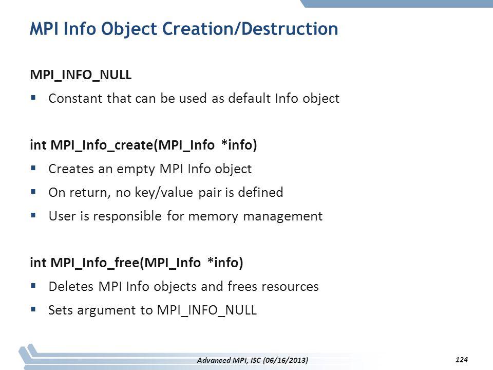 MPI Info Object Creation/Destruction