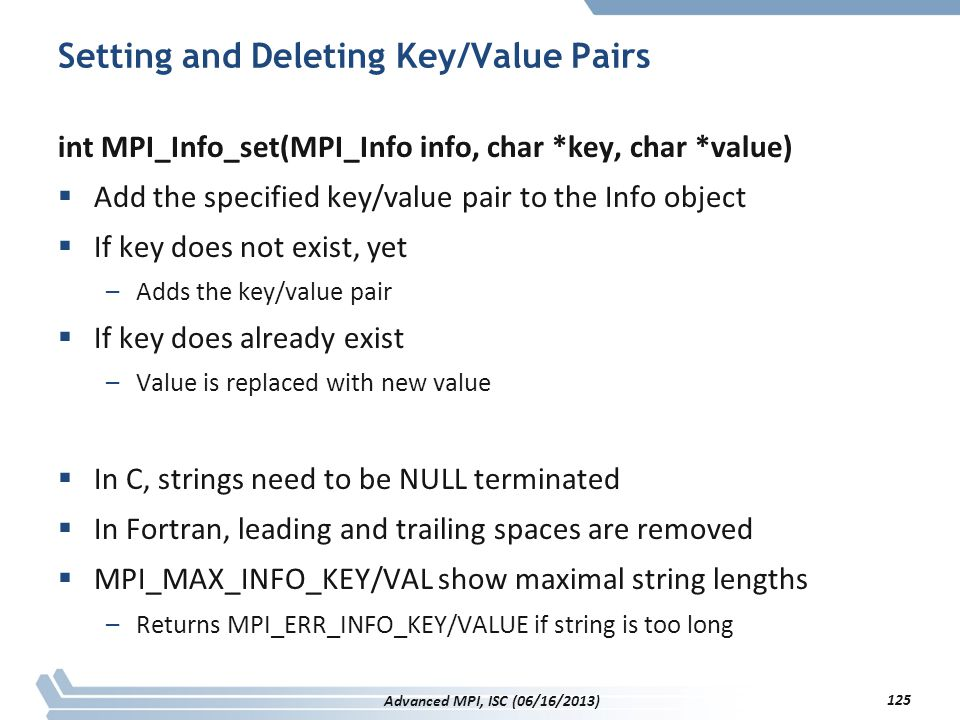 Setting and Deleting Key/Value Pairs