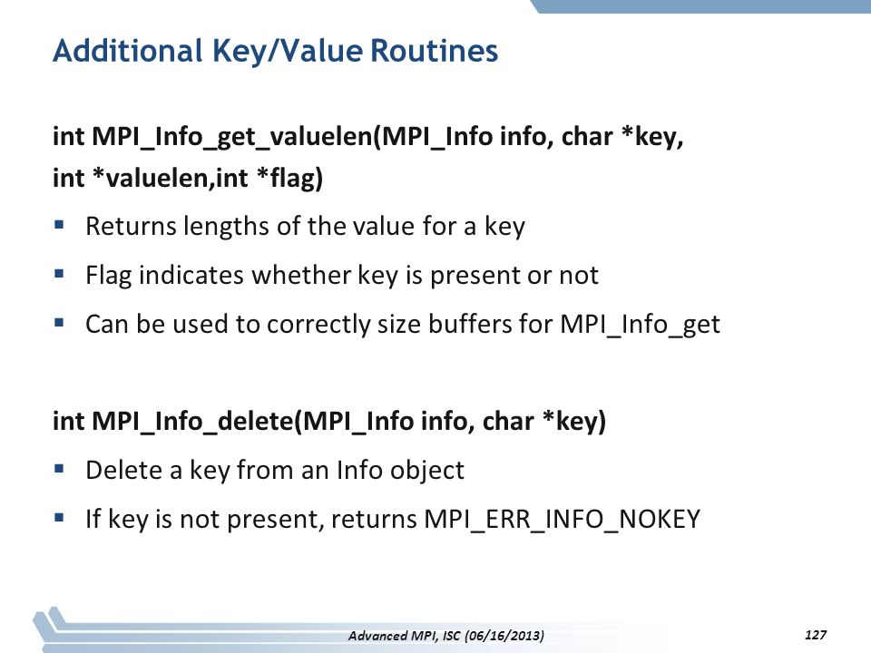 Additional Key/Value Routines