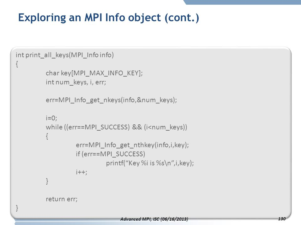 Exploring an MPI Info object (cont.)