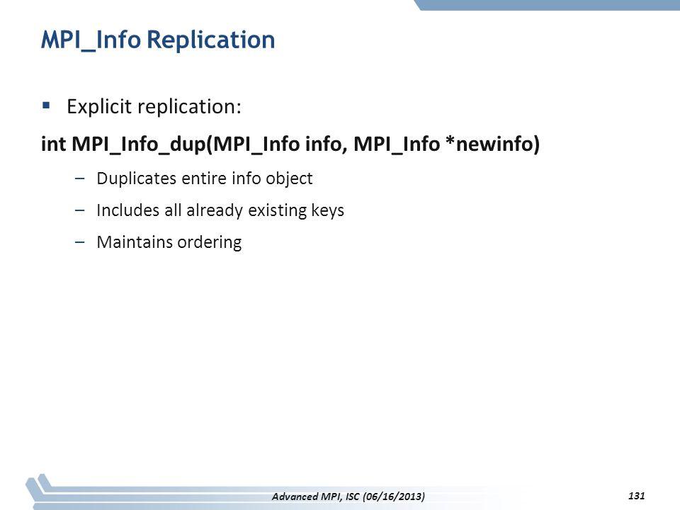 MPI_Info Replication Explicit replication: