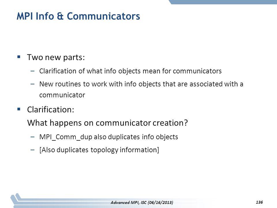MPI Info & Communicators