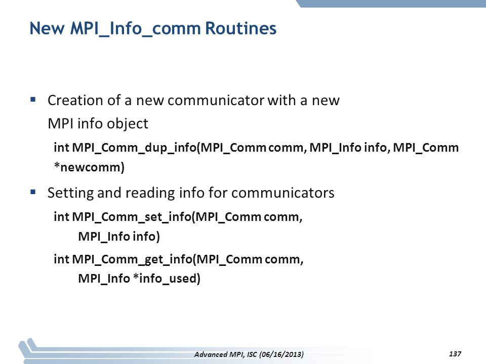 New MPI_Info_comm Routines