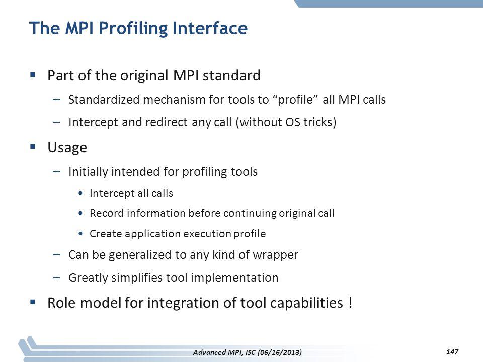 The MPI Profiling Interface