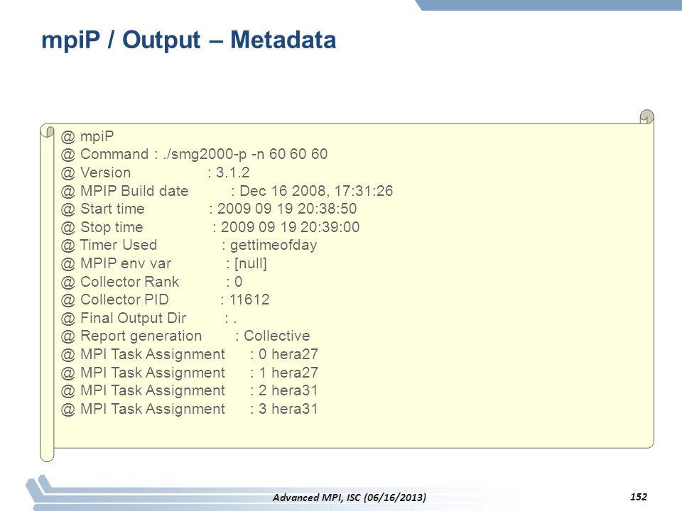mpiP / Output – Metadata