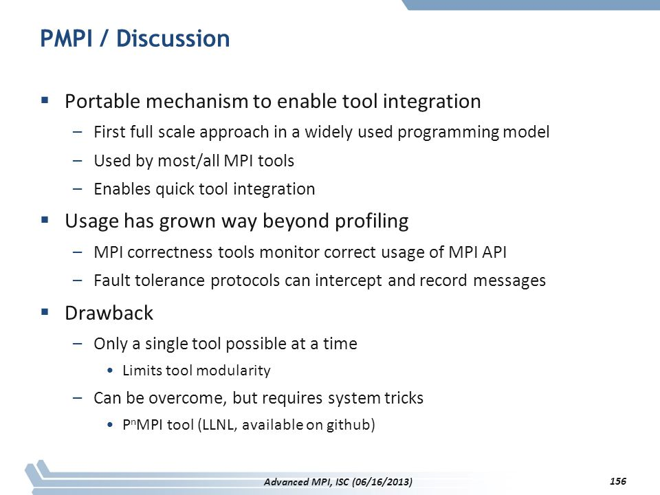 PMPI / Discussion Portable mechanism to enable tool integration