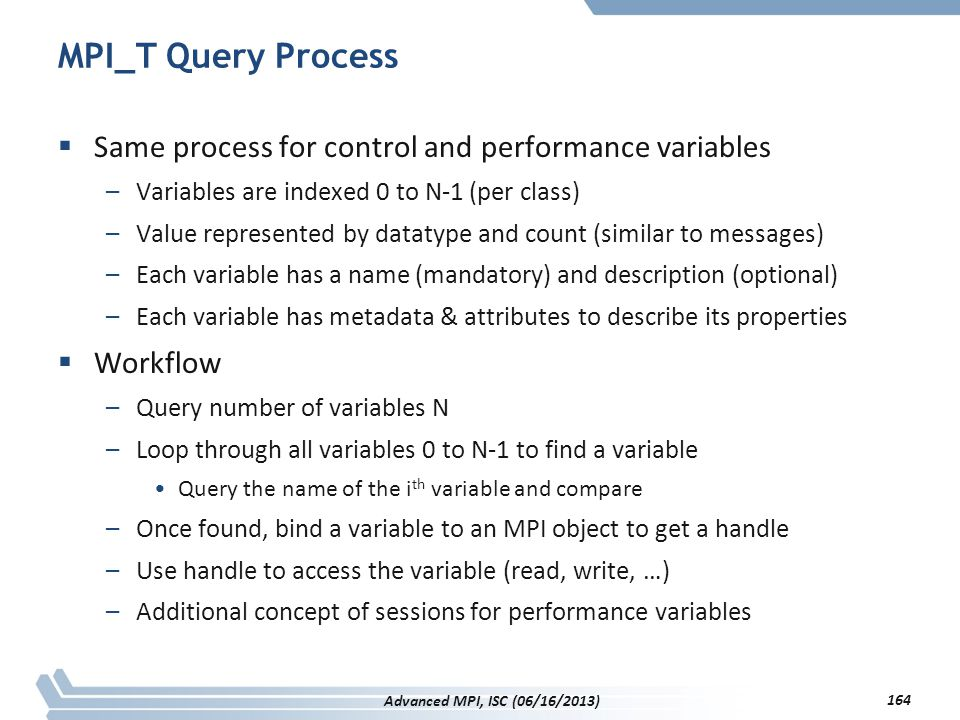 MPI_T Query Process Same process for control and performance variables