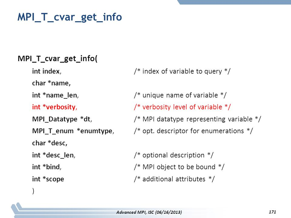 MPI_T_cvar_get_info MPI_T_cvar_get_info(