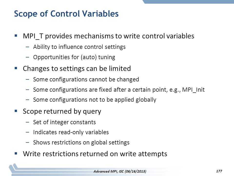 Scope of Control Variables