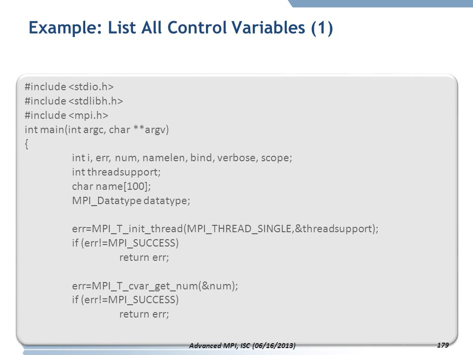 Example: List All Control Variables (1)