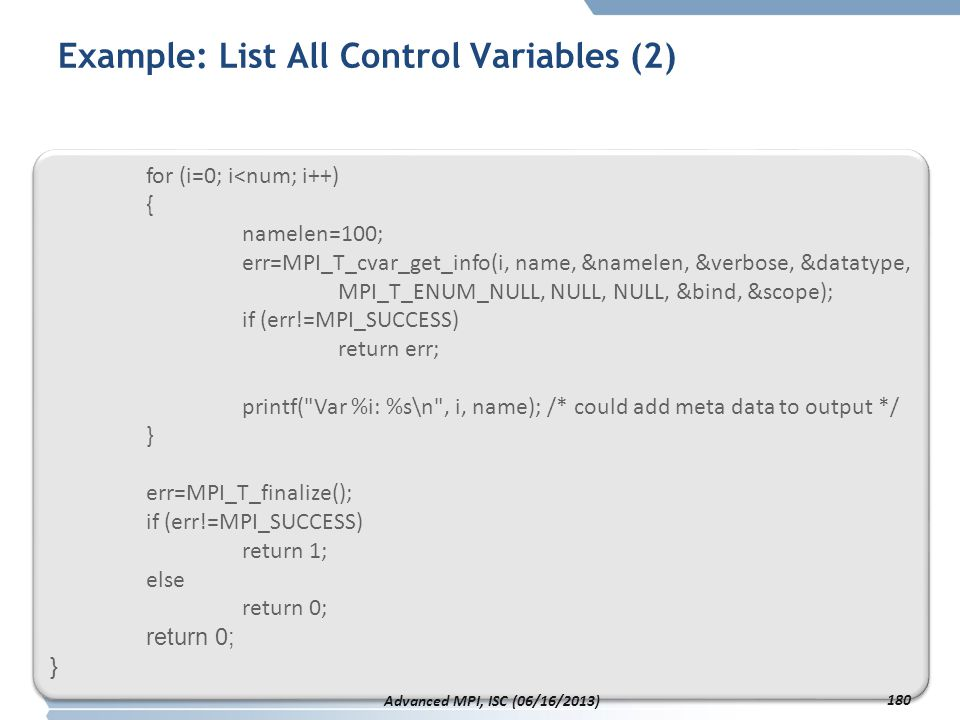 Example: List All Control Variables (2)